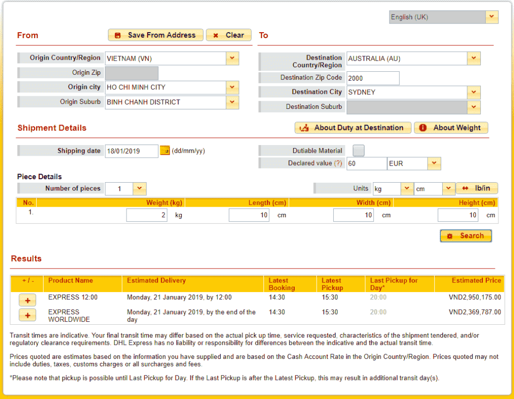 DHL quote to Australia