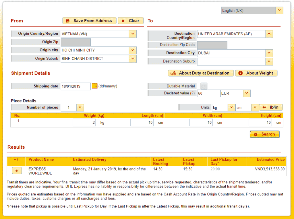 DHL quote to UAE