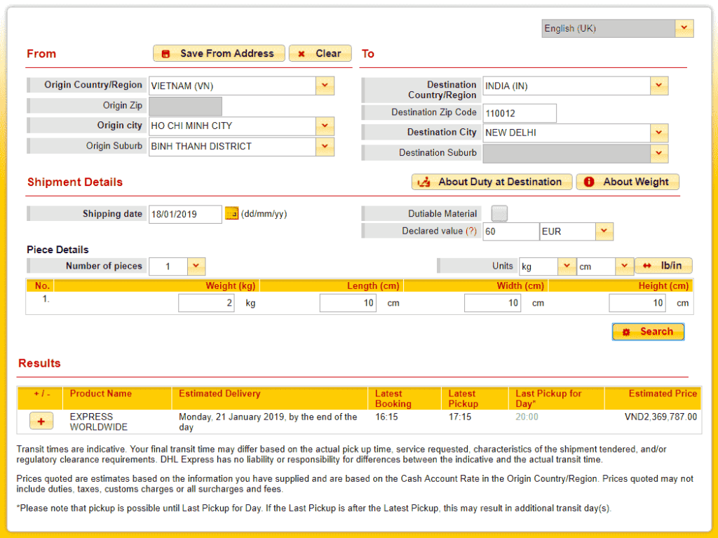 DHL quote to India