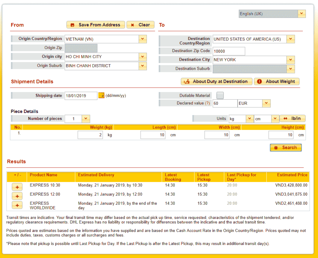 DHL quote to USA