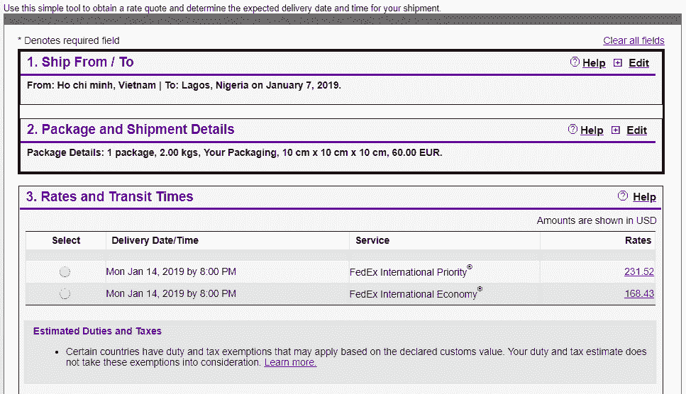 Fedex quote to Nigeria