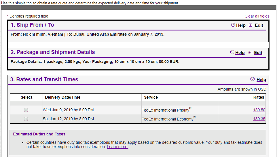 Fedex quote to UAE