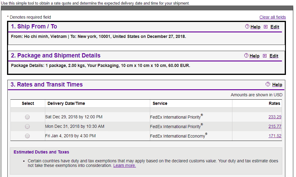 Fedex quote to USA