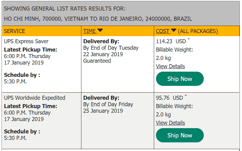 UPS quote to Brazil