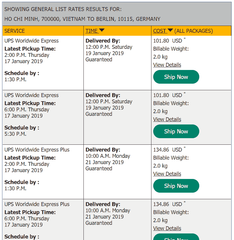 UPS quote to germany