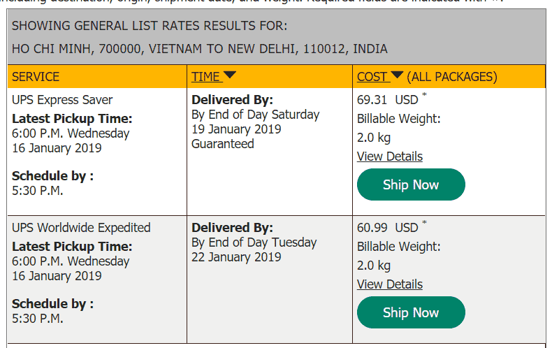 UPS quote to India