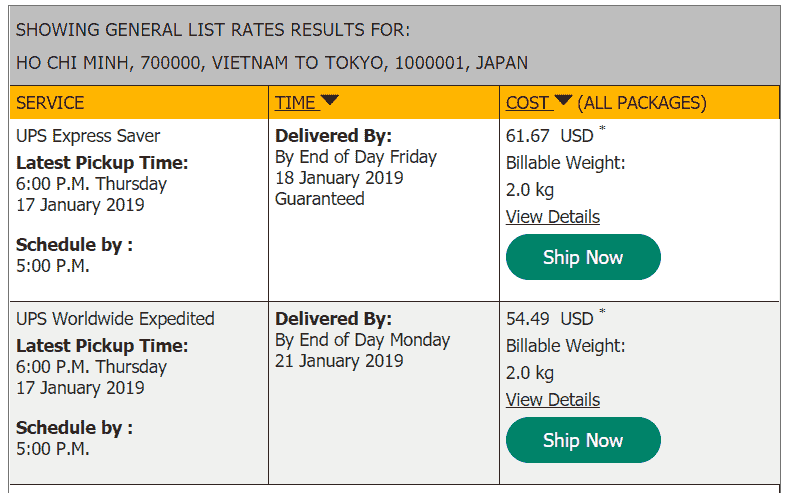 UPS quote to Japan