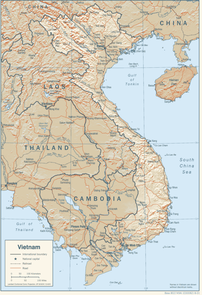 map of the roads in Indochina
