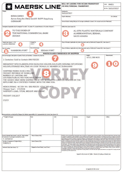 example of a Bill of Lading