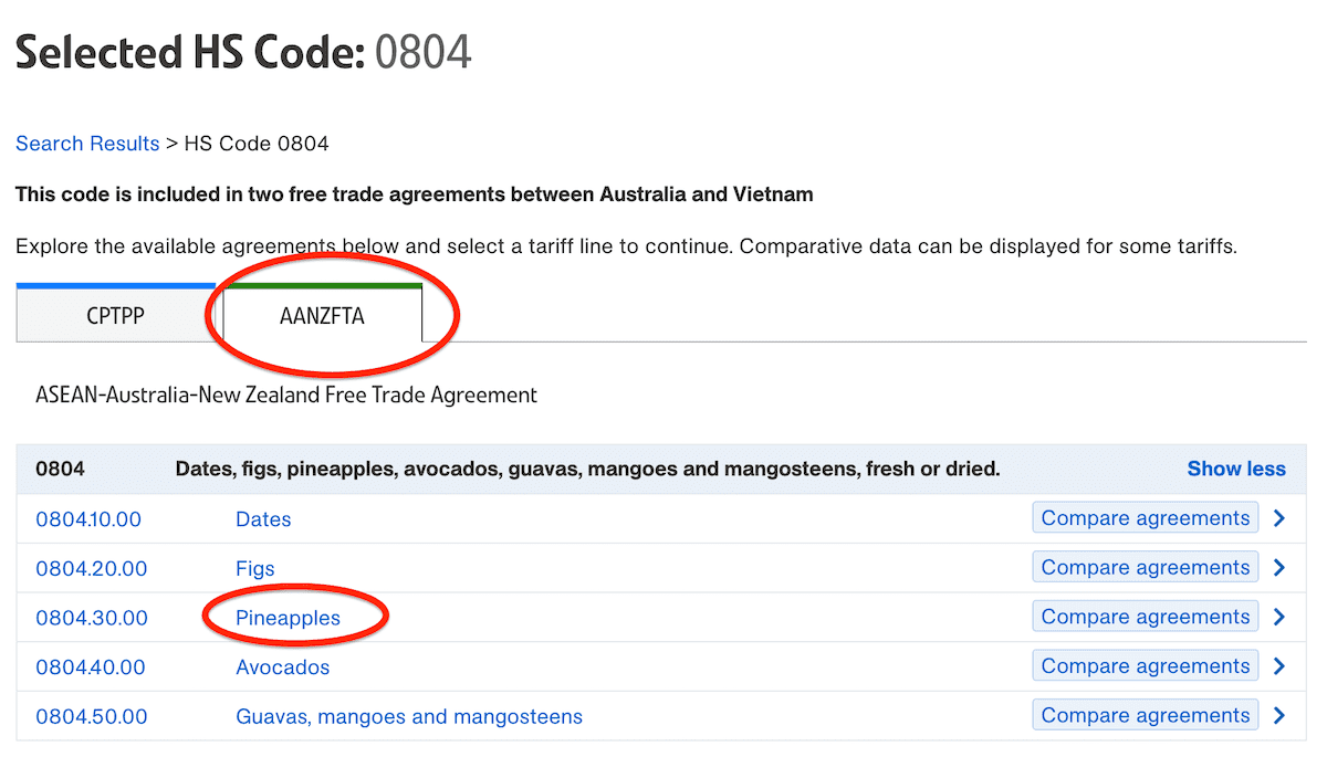 selection hs code customs australia