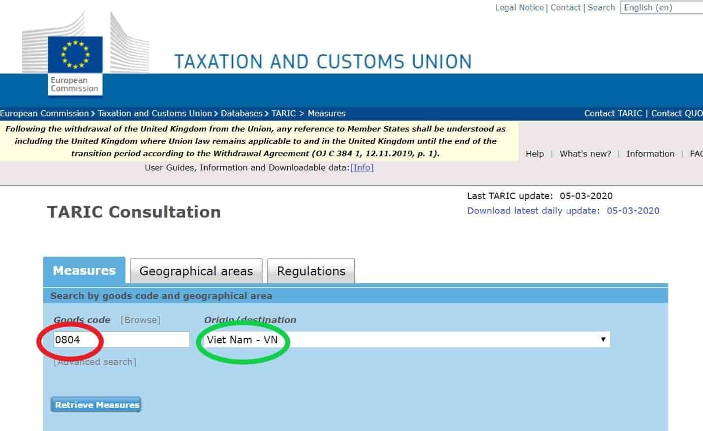 Screen of HS code EU vietnam