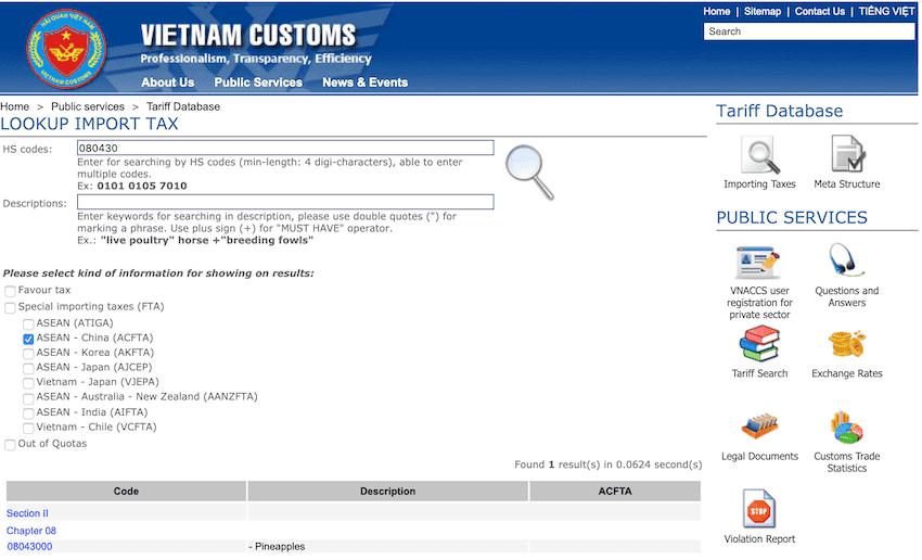 customs tariff vietnam website